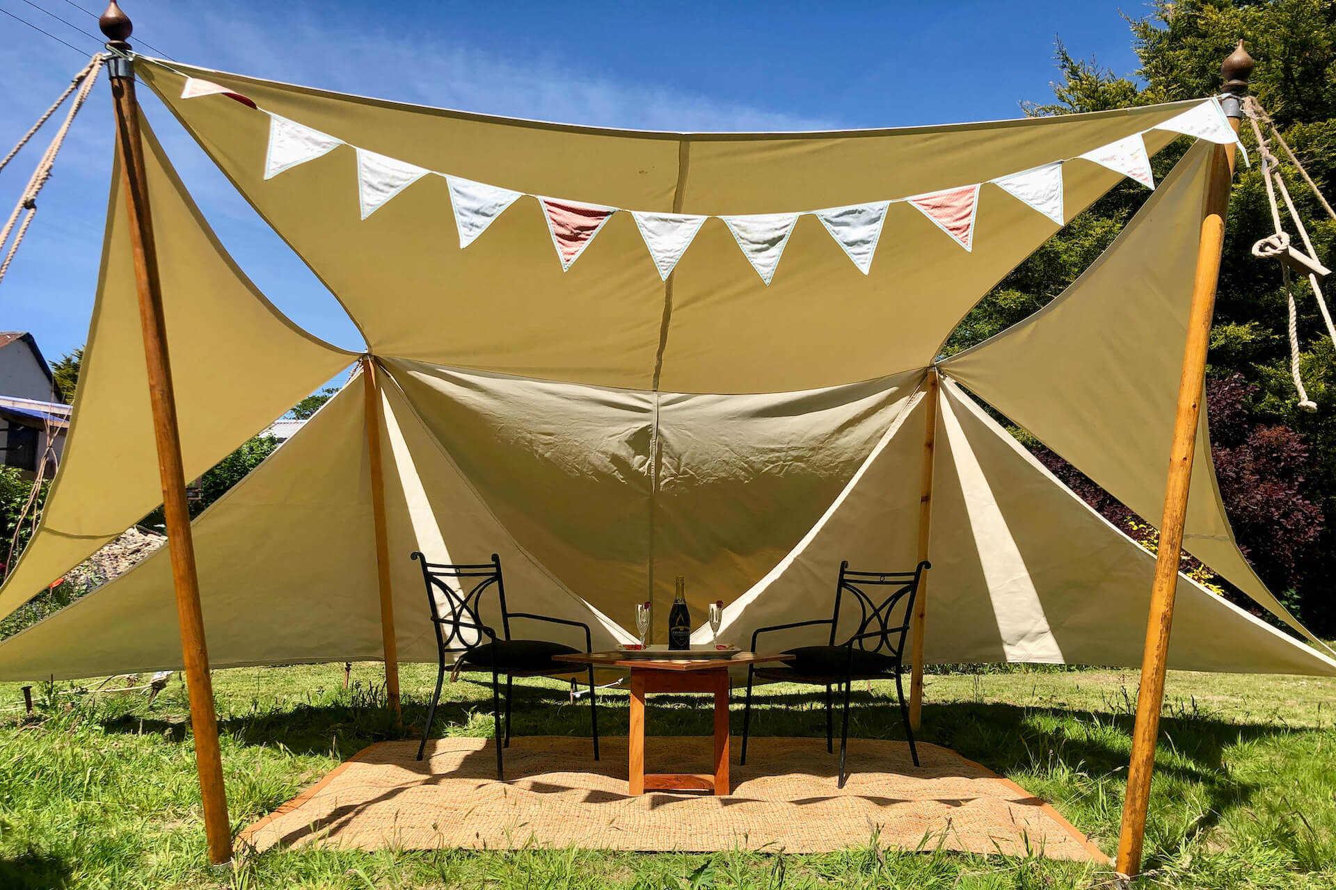 Traditional canvas shade sails manufactured in UK