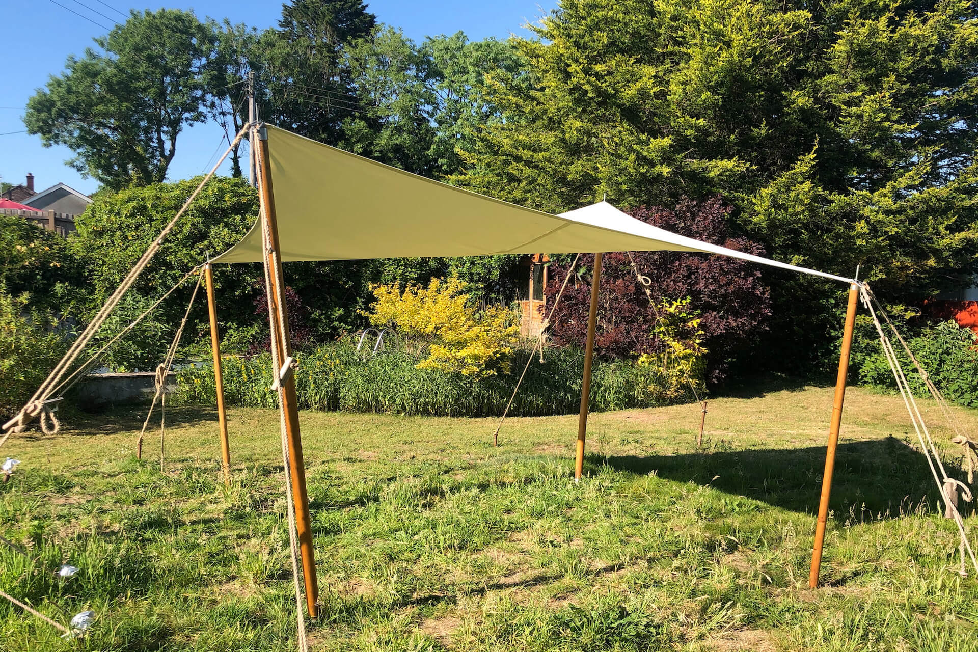 Square cream canvas  3m x 3m shade sail