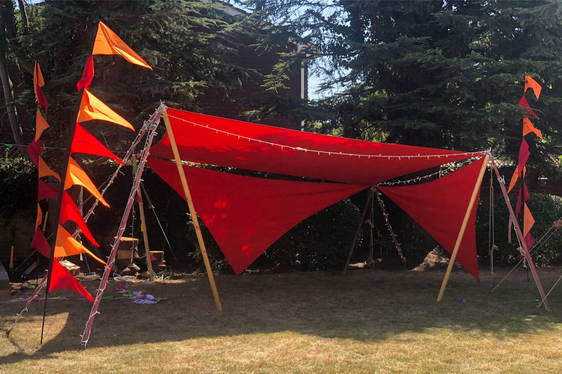 Red shade sails made to order in the uk