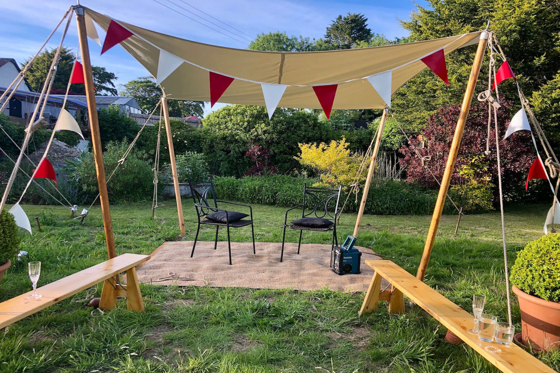 Square shade sail glamping accessories