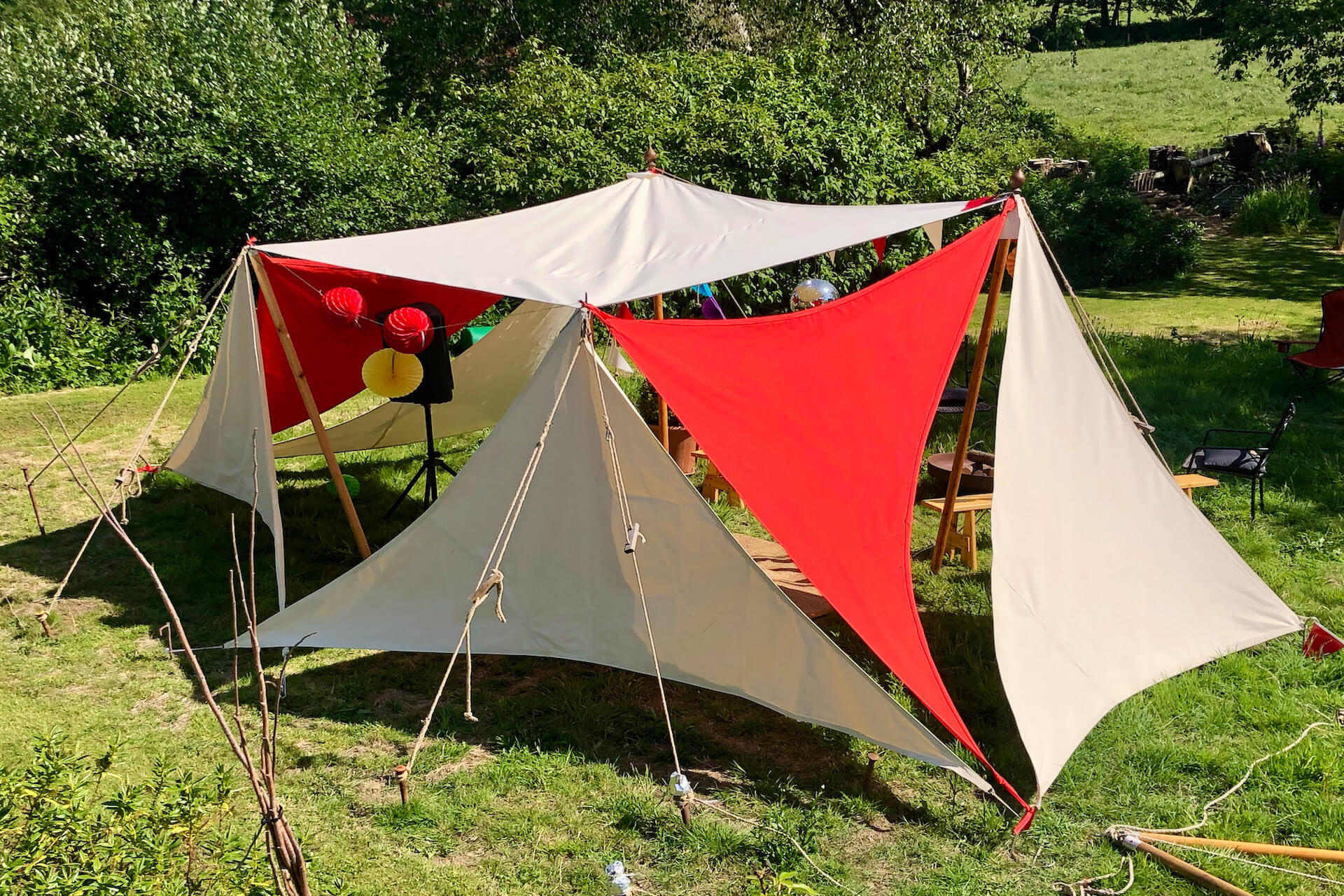 A group of shade sails made in the UK