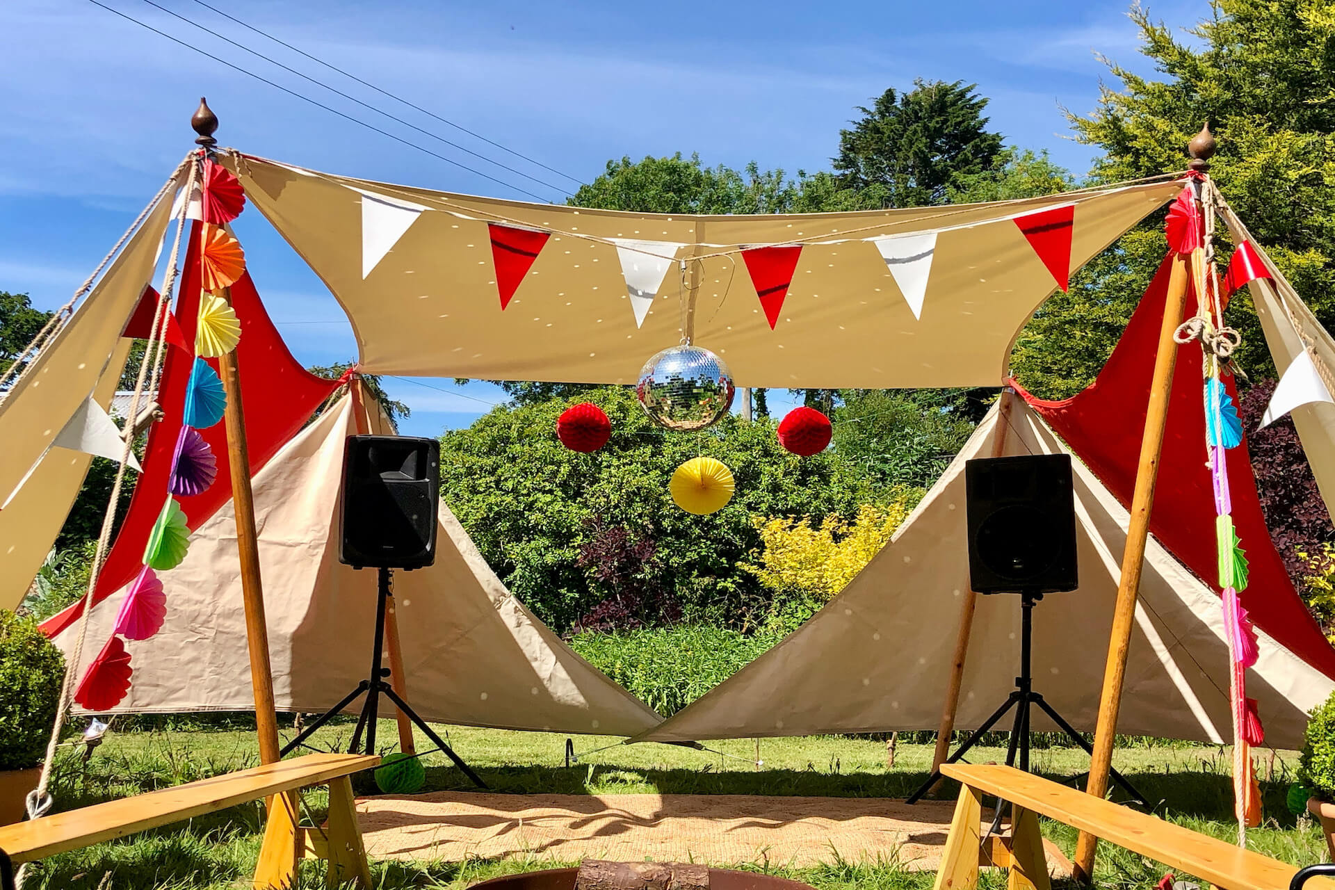 Private party in a shade sail structure