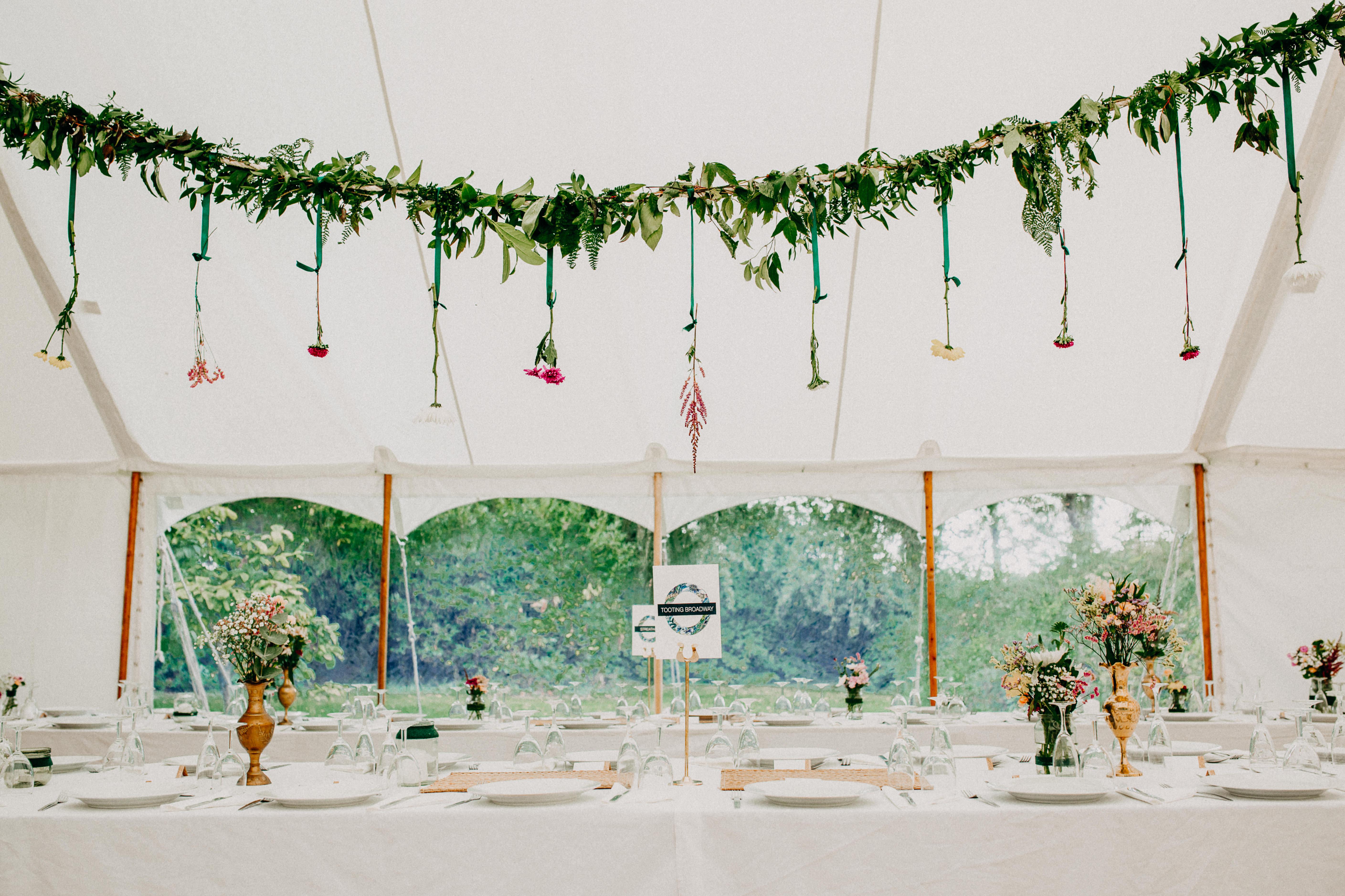 Petal marquee wedding tablescape