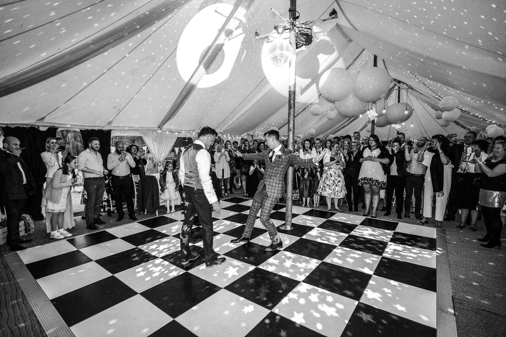 Dance floor in Petal marquee ©cotswoldweddings
