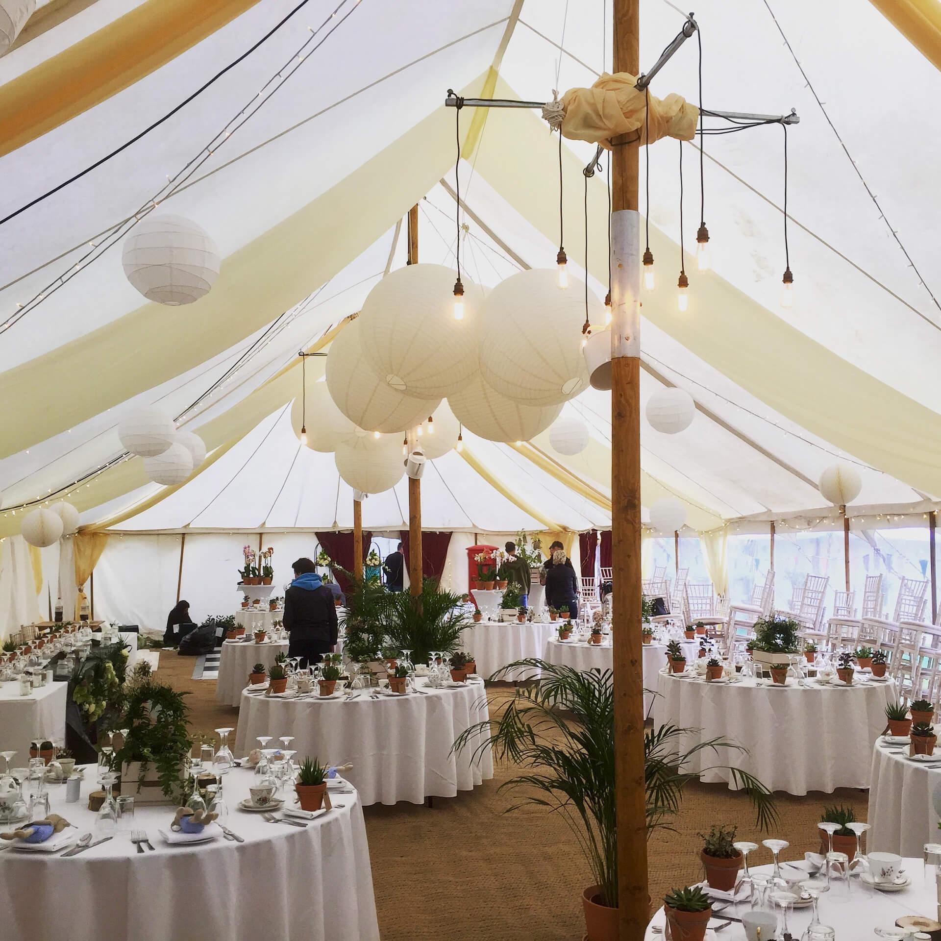 Wedding breakfast in Petal marquee