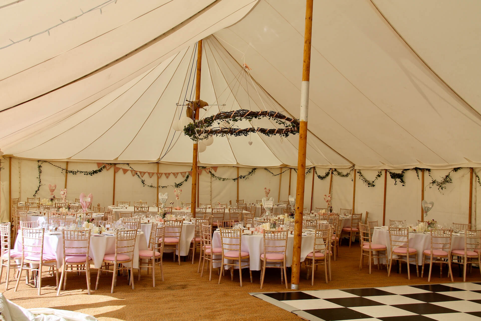 wedding reception in canvas tent