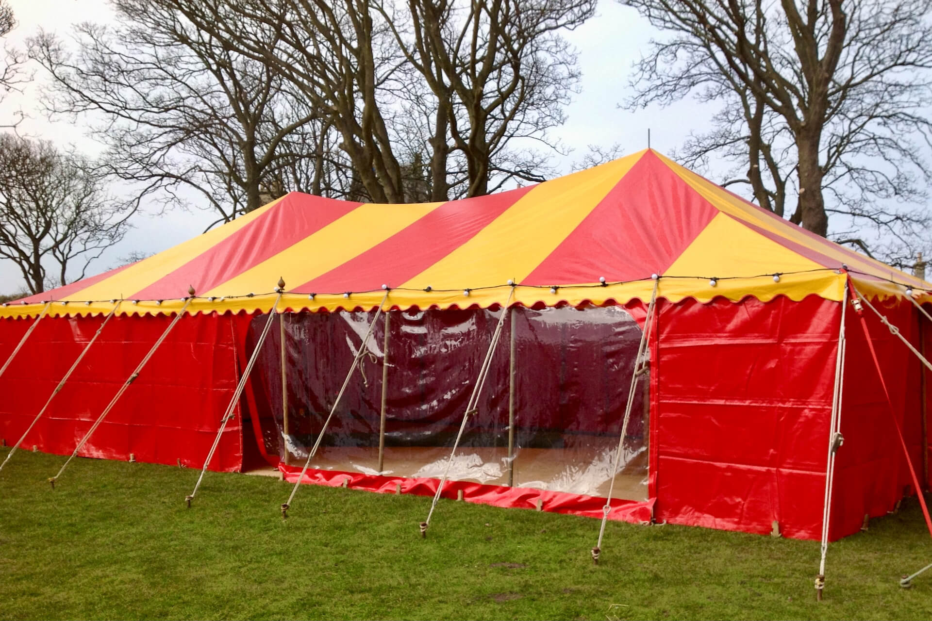 6m x 12m red and yellow rectangular marquee