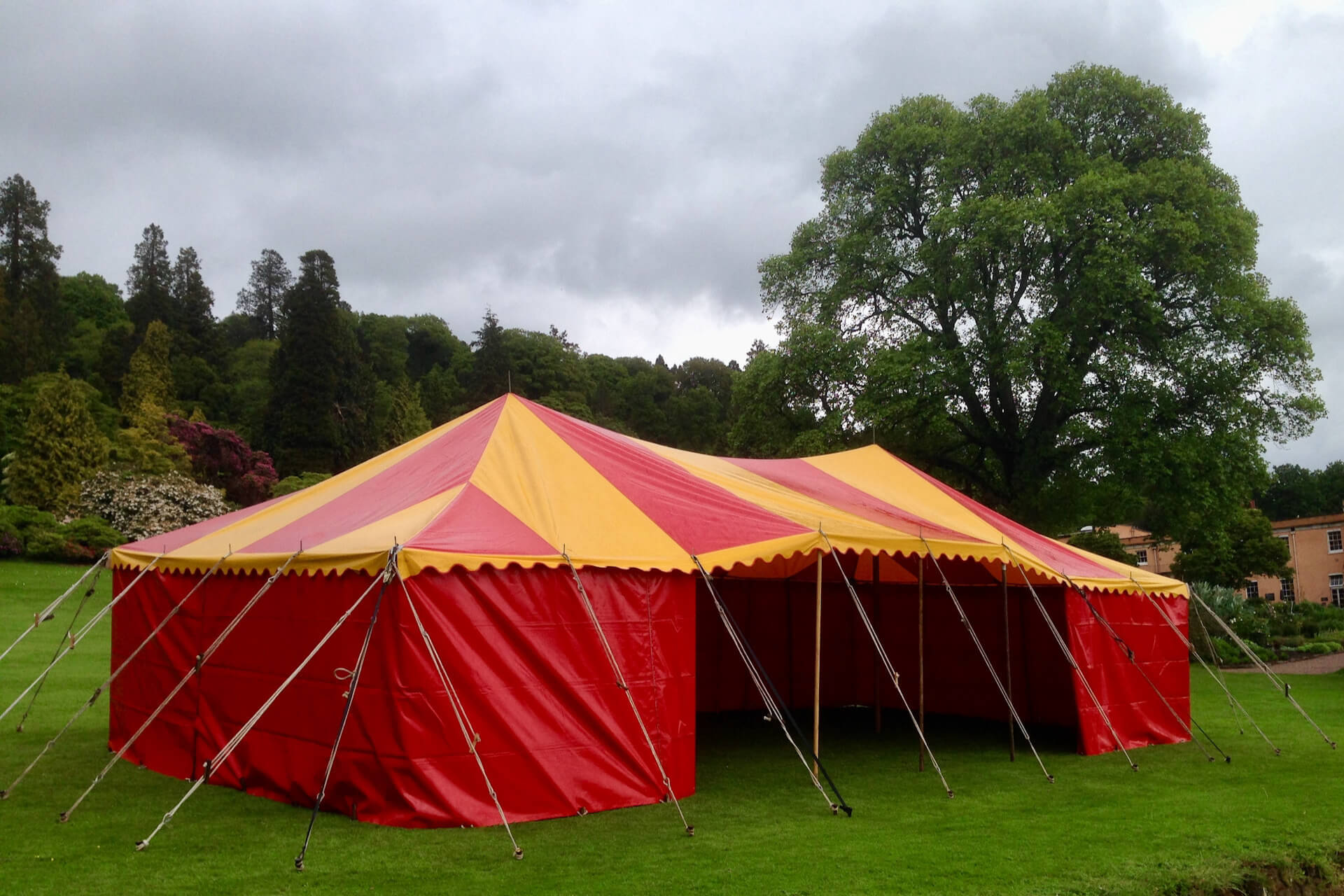 12m x 6m rectangular red and yellow tent hire