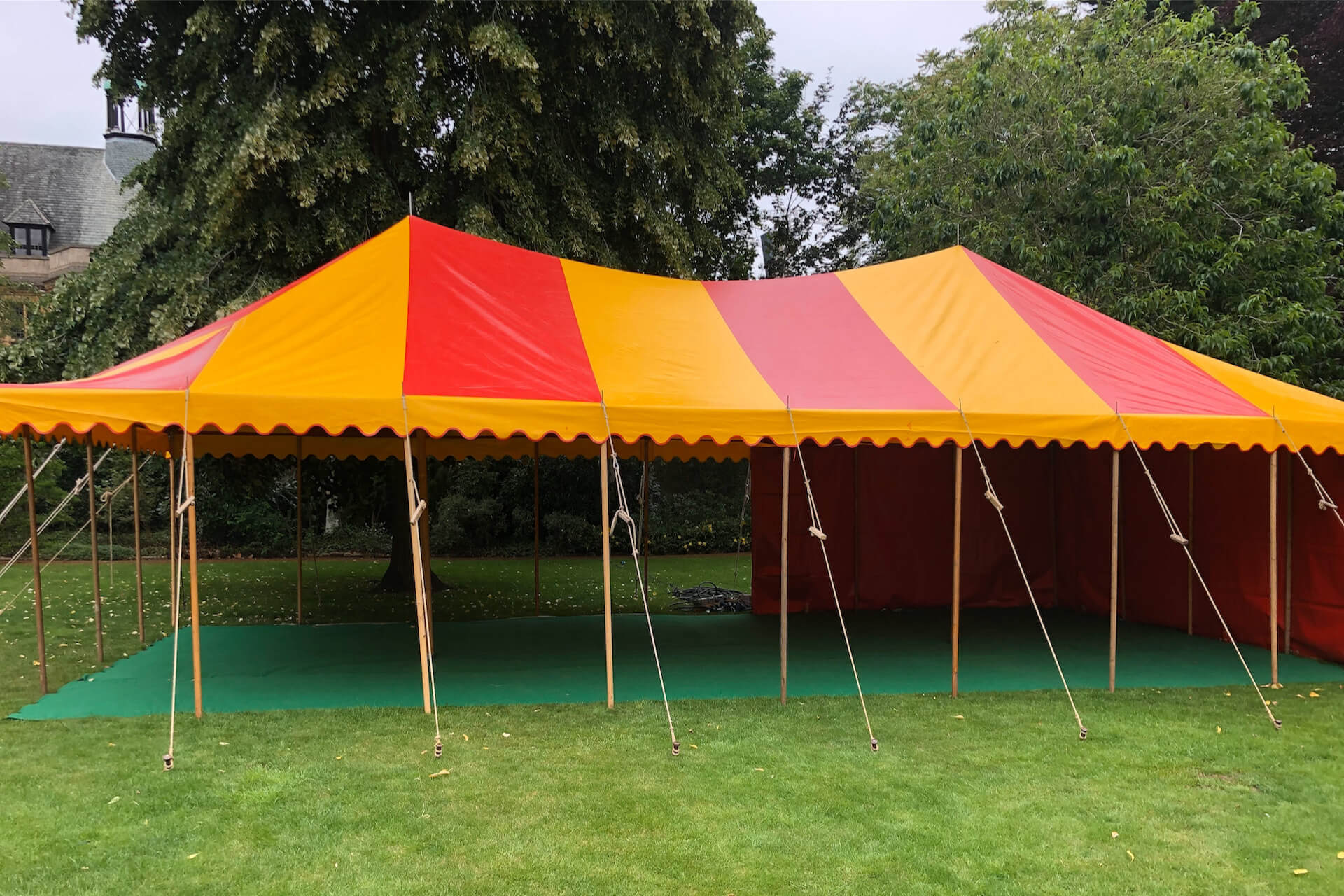 12m x 6m rectangular red and yellow tent rental Devon
