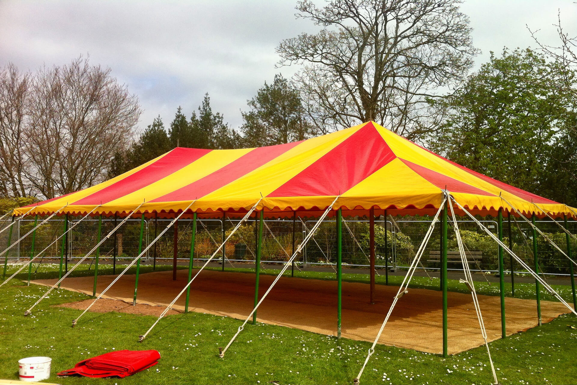 12m x 6m rectangular red and yellow tent for hire uk