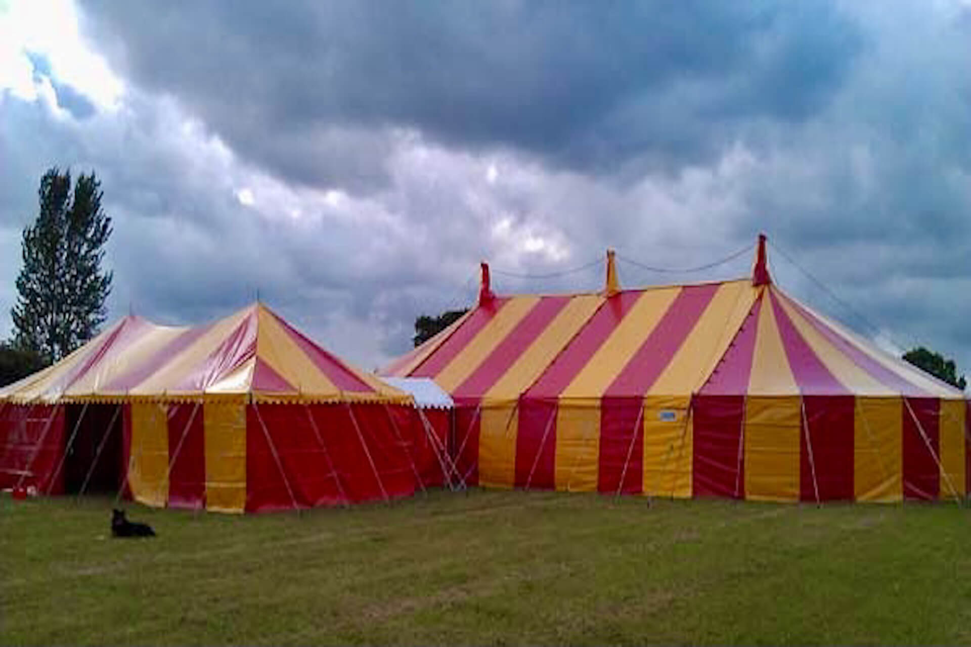 Matching colourful party tent and catering tent Bristol