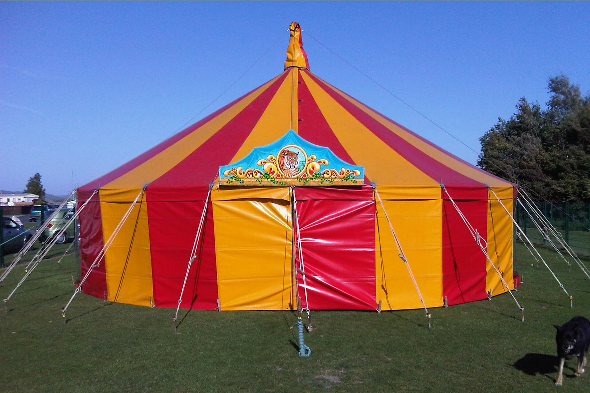 Dot is a lovely 11m round red and yellow small circus tent Bristol