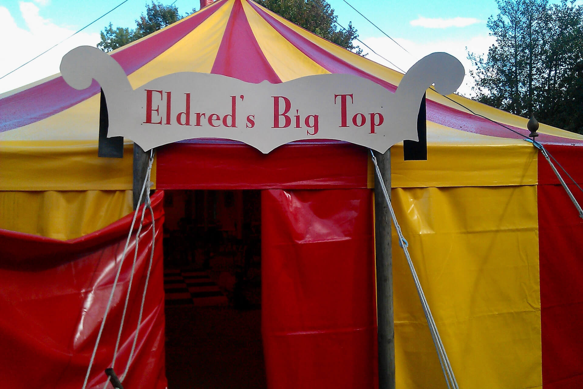 Small red yellow round big top Cotswolds