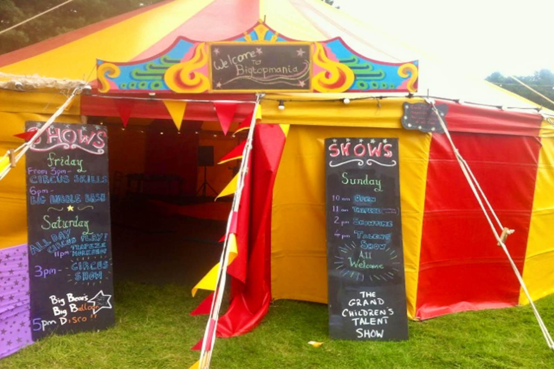 Small childrens show tent at festival Devon