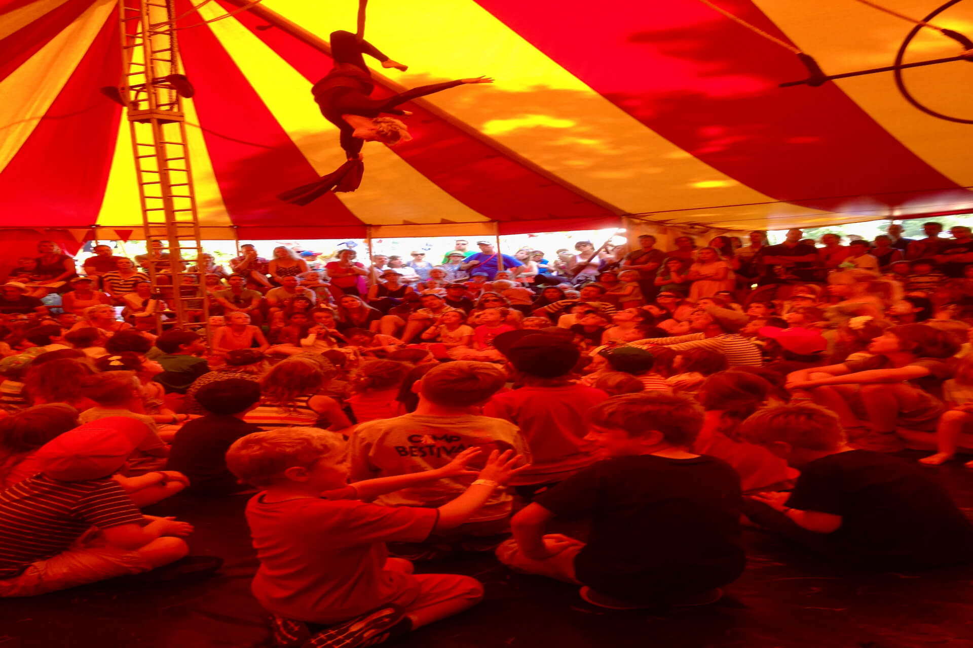 Packed show tent at Camp Bestival Dorset