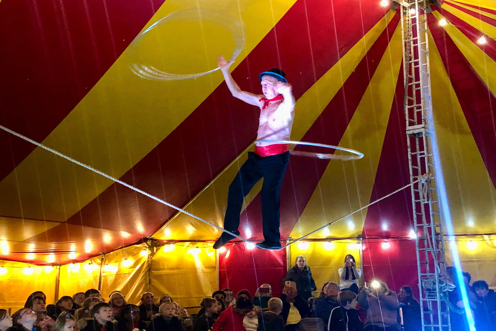 Fiddler on the rope in circus show
