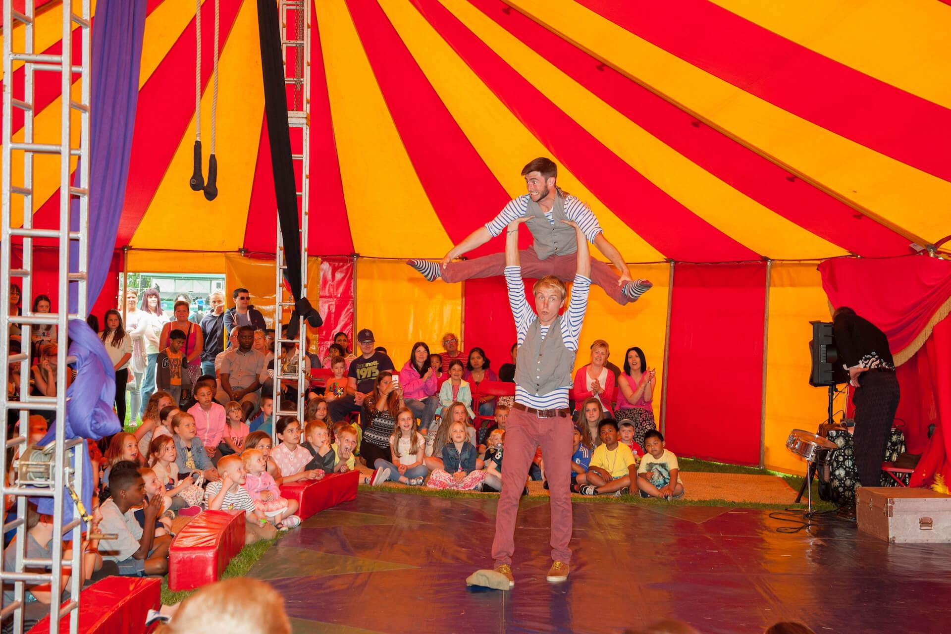 Acrobats in circus show at Shamblala festival