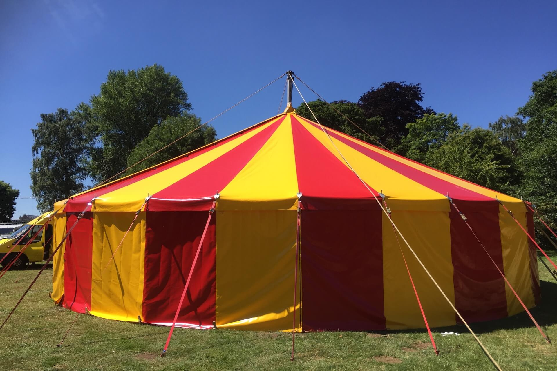 red and yellow tent