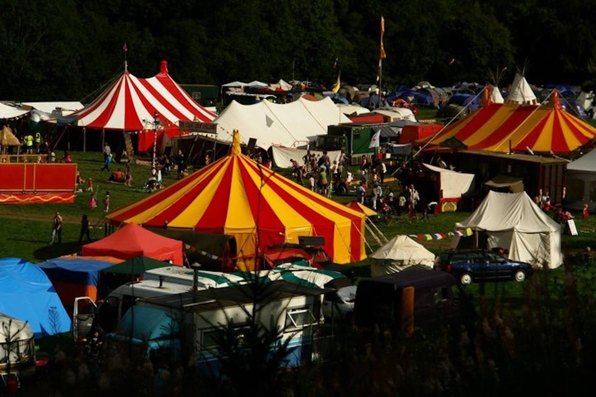colourful festival marquees