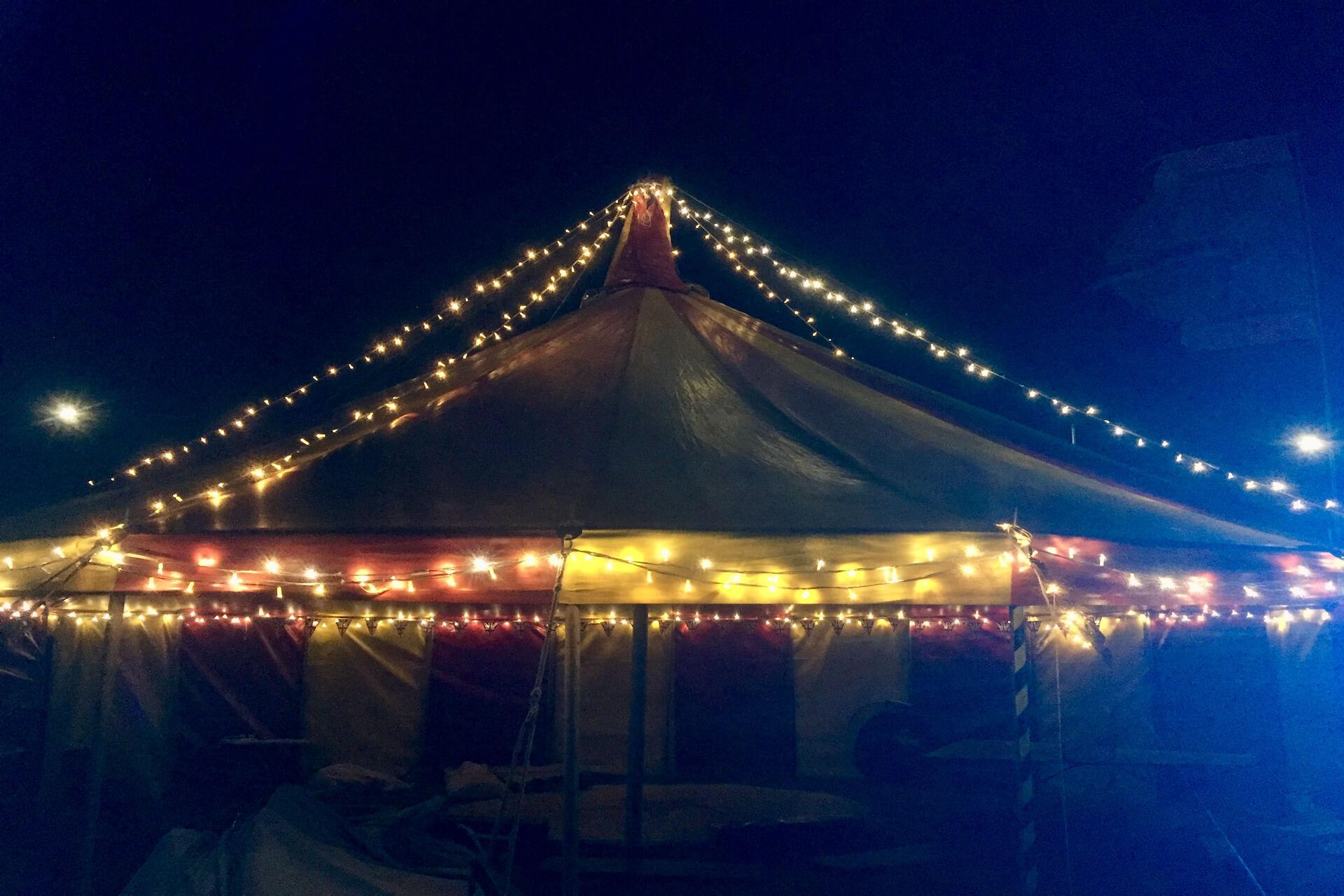 fairy lights on tent