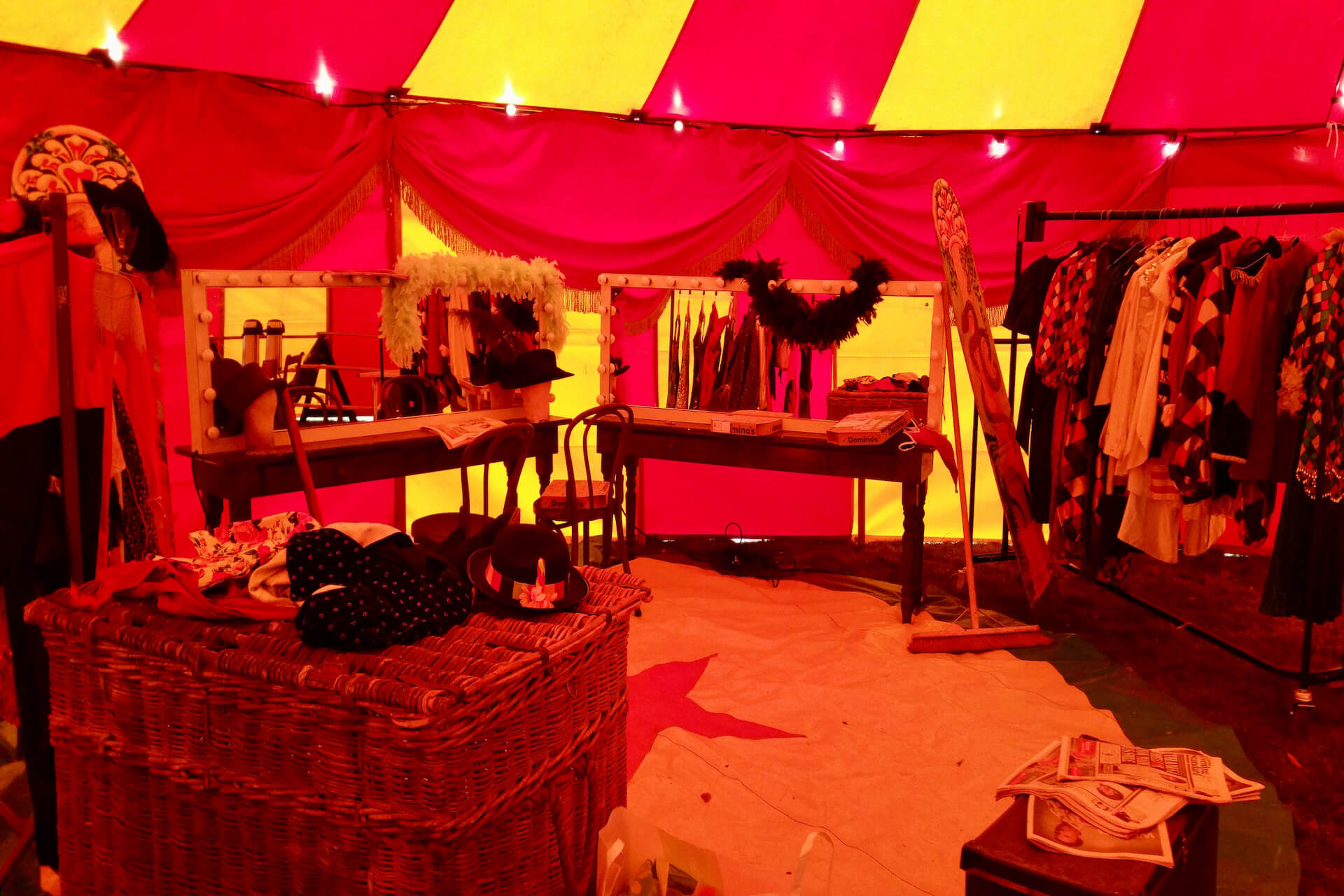 circus artists dressing room tent