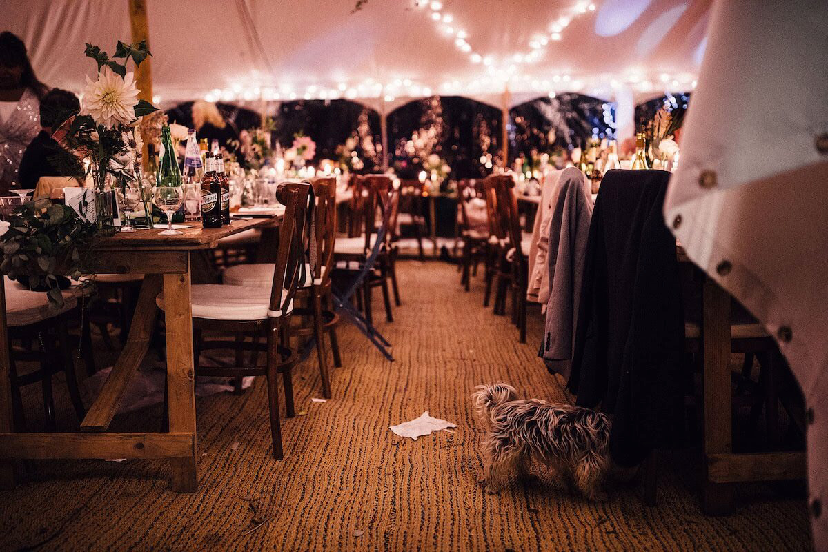 Rustic tables and chairs in wedding marquee in Northamptonshire