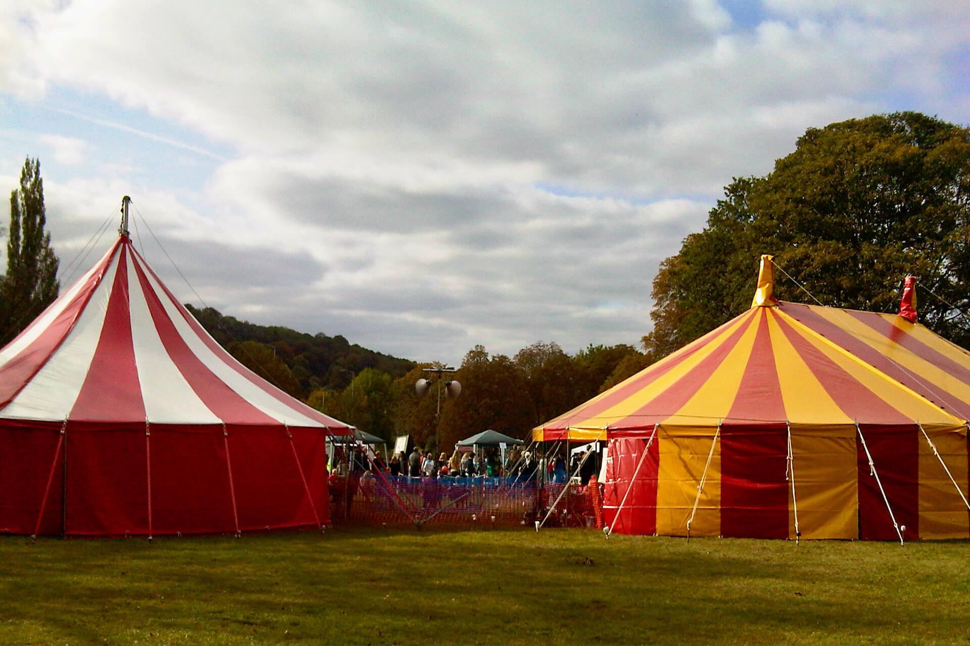 Colourful big top circus tents