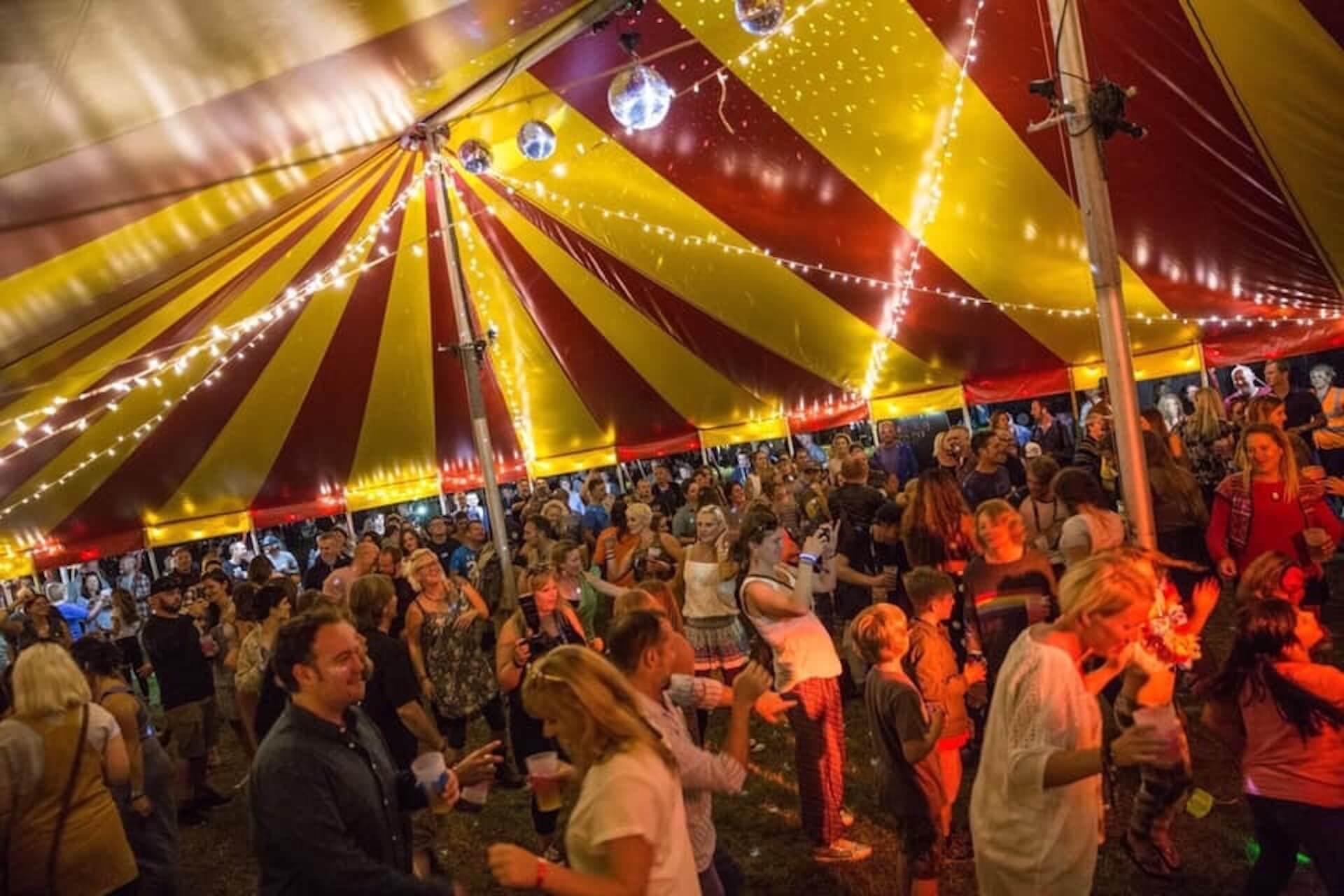Dance tent at On the Road Festival , Saunton, Devon