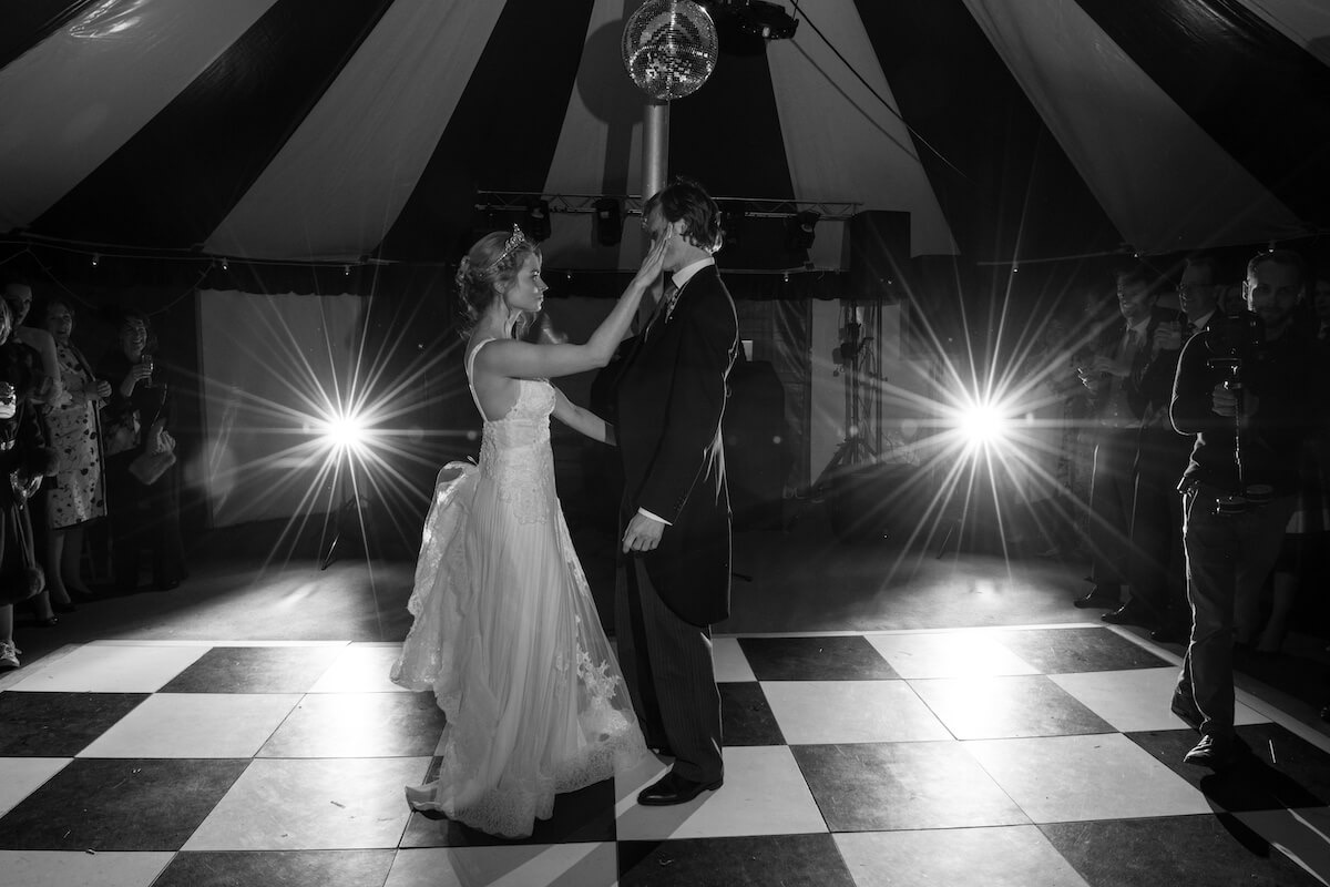 The first dance on the dance-floor in circus tent