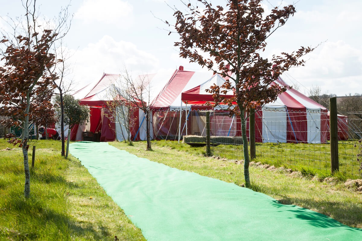 A countryside festival wedding in circus big-top in the Cotswolds.