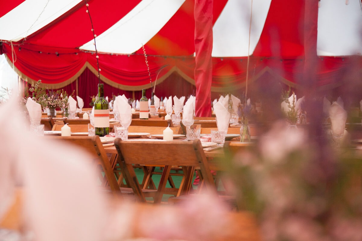 Velvet decor and table decorations for  wedding breakfast tent