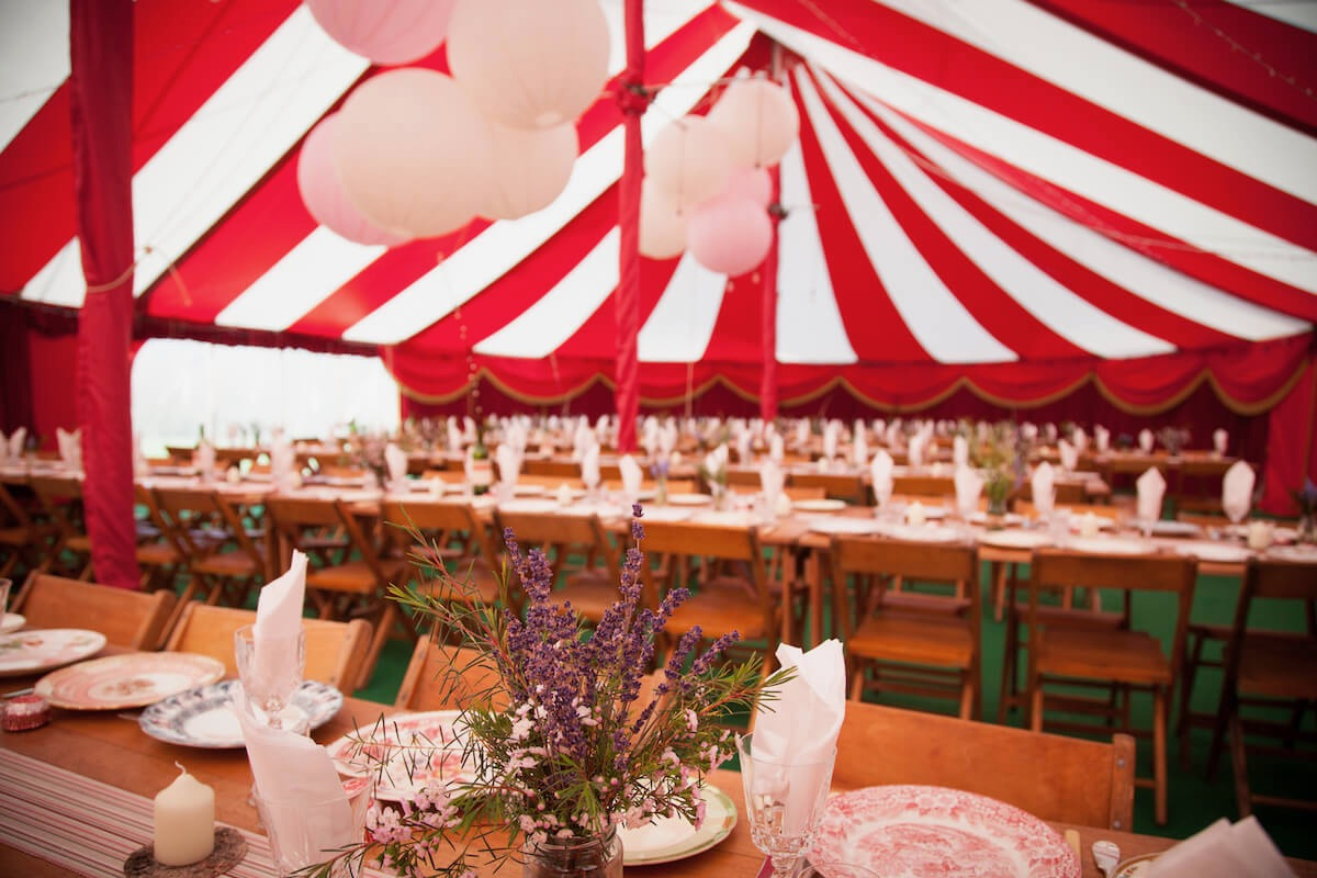 Colourful big-top wedding in Oxfordshire