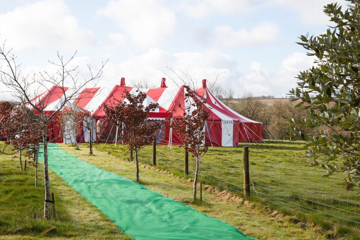 Candy stripe red and white wedding marquee Oxfordshire