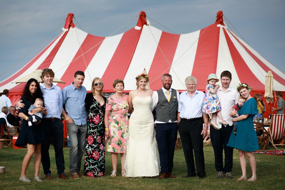 Wedding guests at a big-top wedding on the Lizard in Cornwall