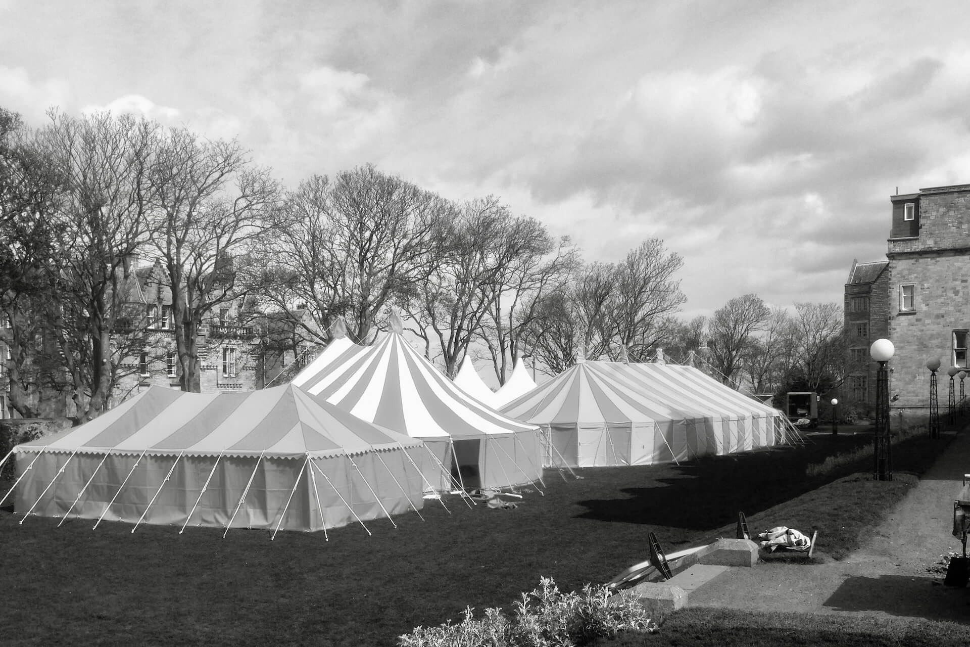 A cluster of marquees at a University