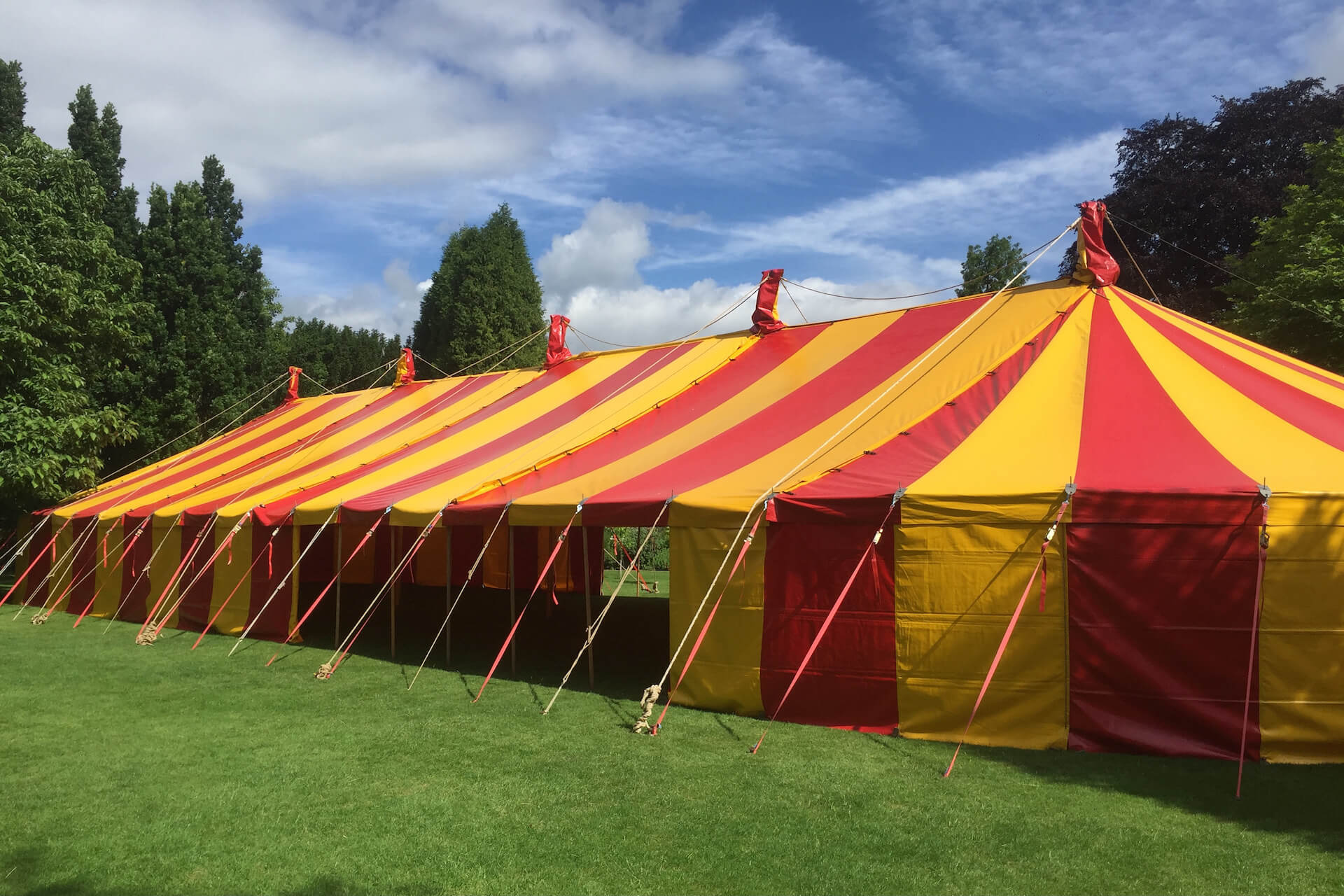40x120 ft Colourful red and yellow marquee