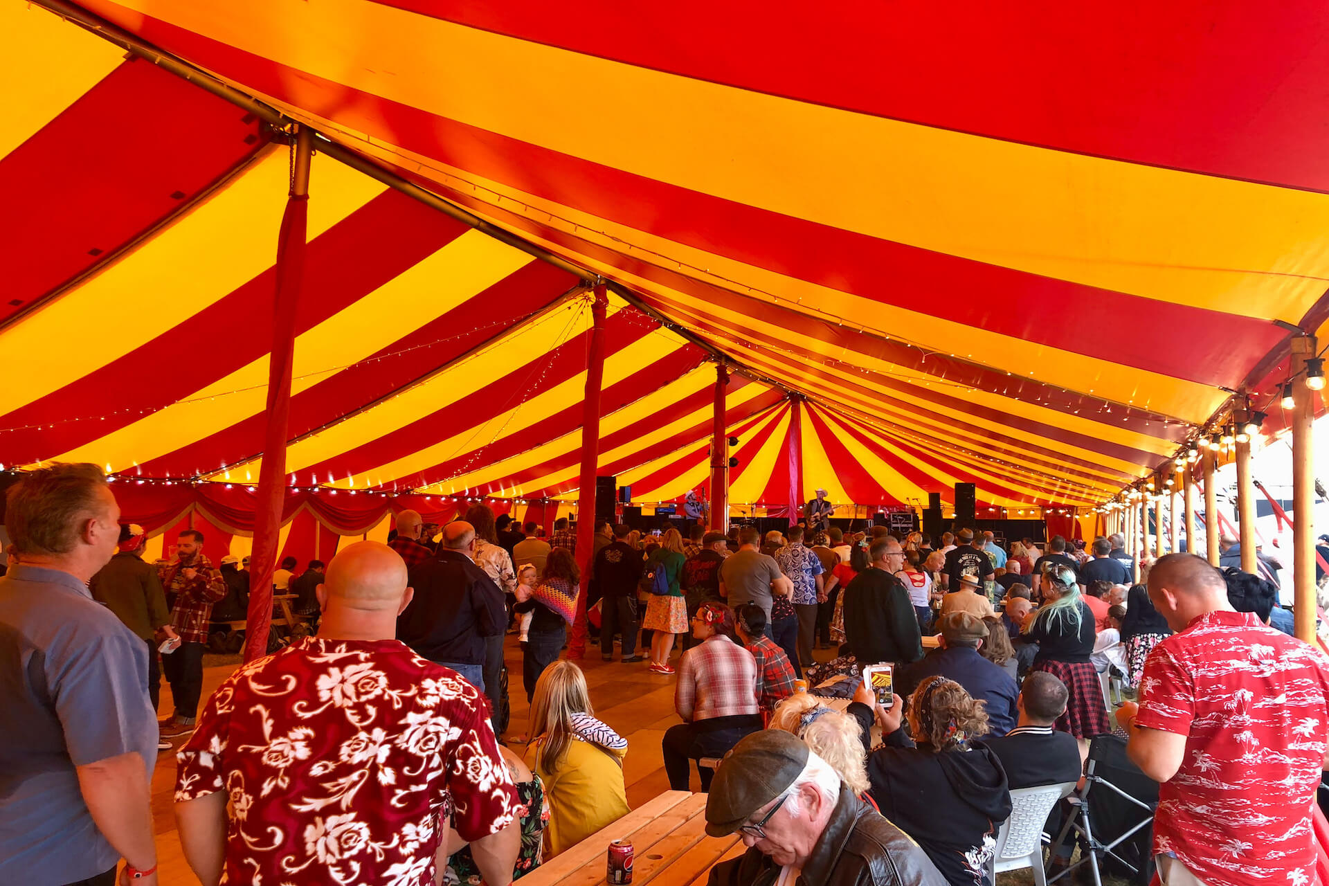 Inside marquee stage venue at Atomic Vintage Festival