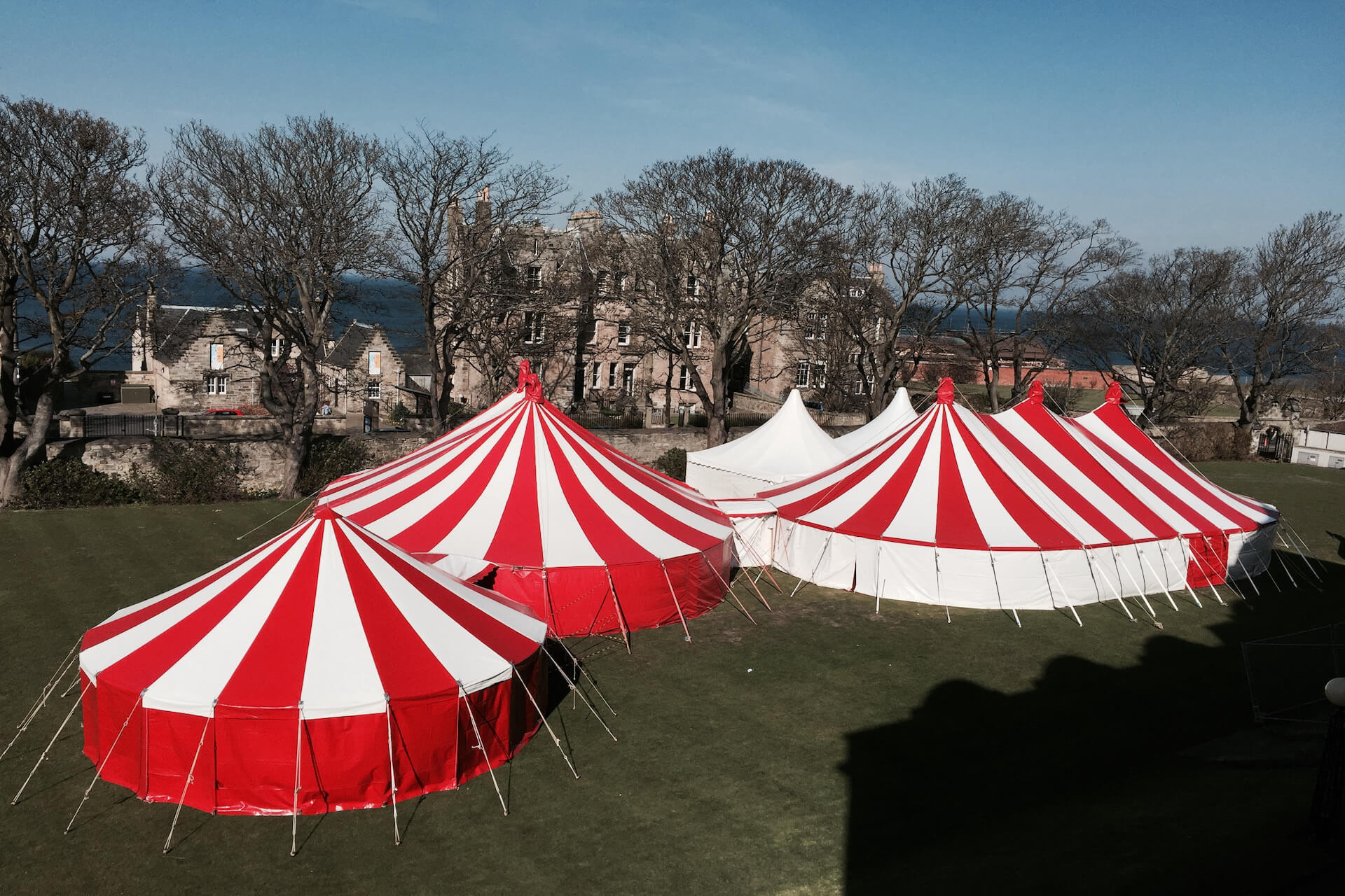 Red and white circus tents