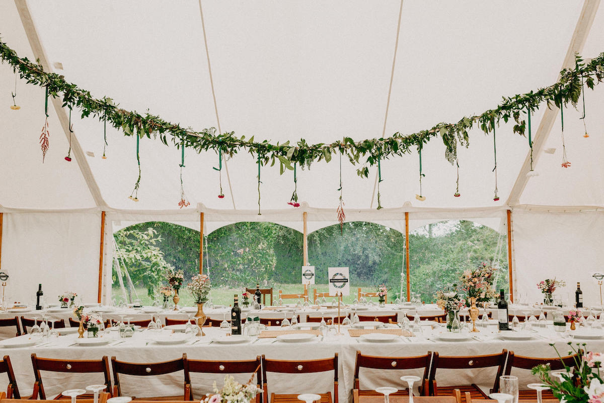 Country Wedding styling in a pole marquee hired near North Cornwall