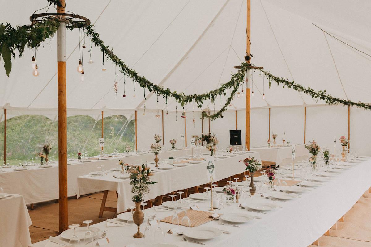 Boho wedding marquee styling in Devon
