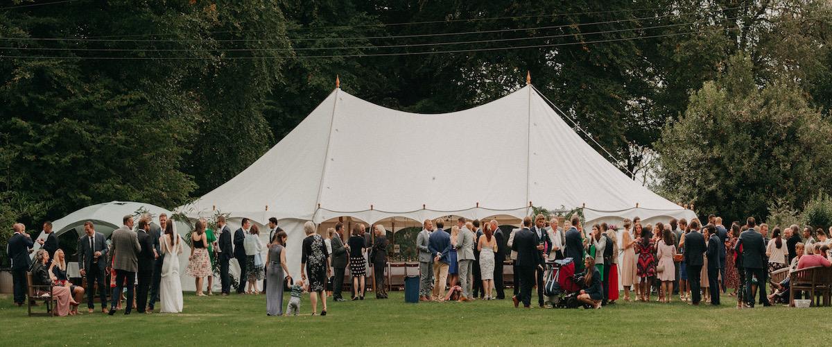 Canvas wedding tent hire near Holsworthy, Torridge, Devon. South-West. UK