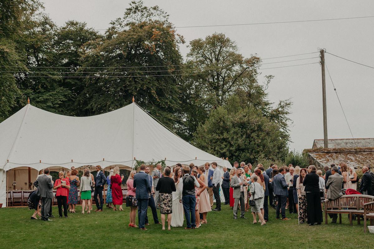 A marquee wedding reception at the Old Rectory, Pyworthy near Holsworthy in Torridge, Devon