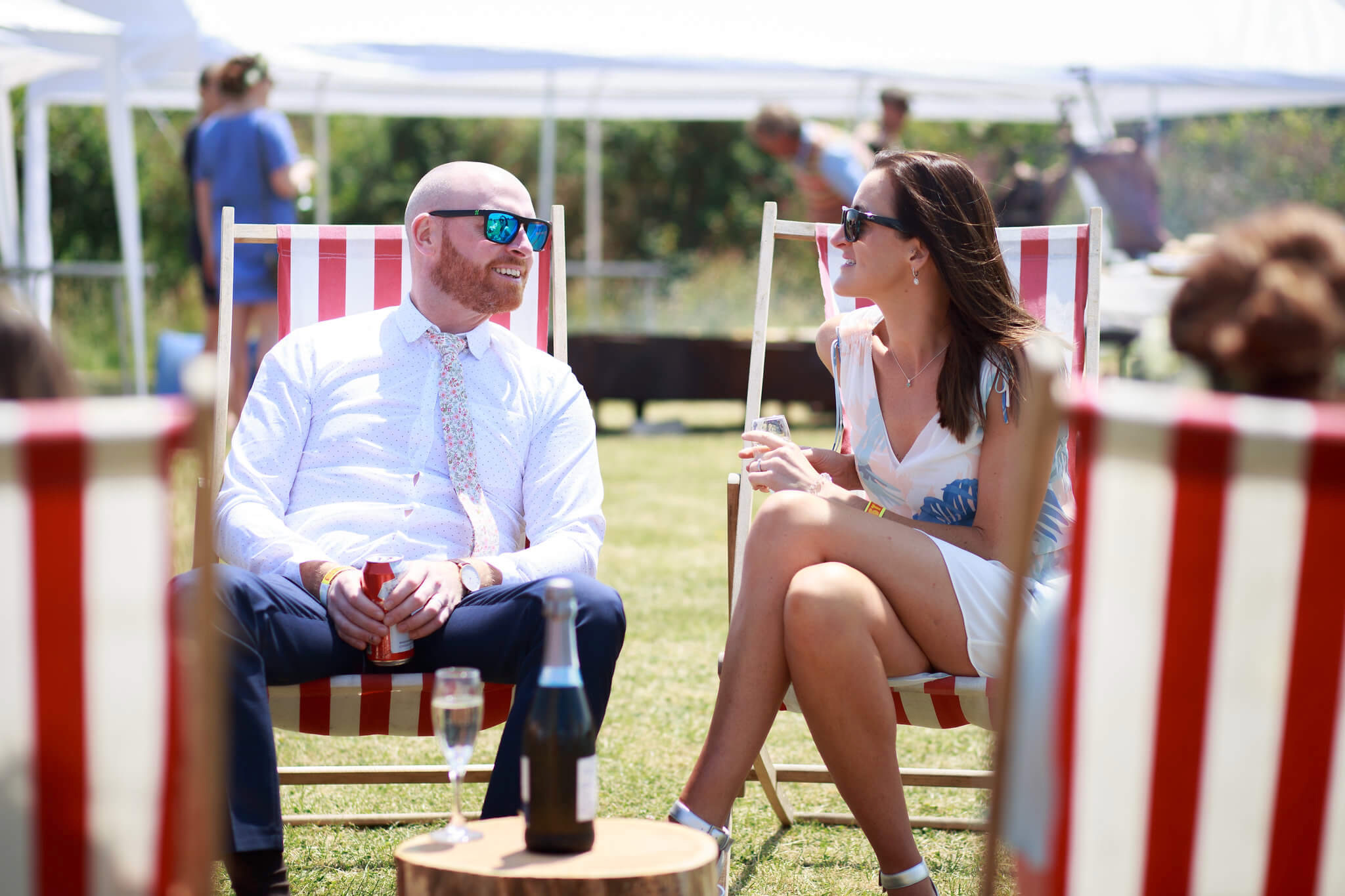 Deckchair hire for weddings for guests  relaxing