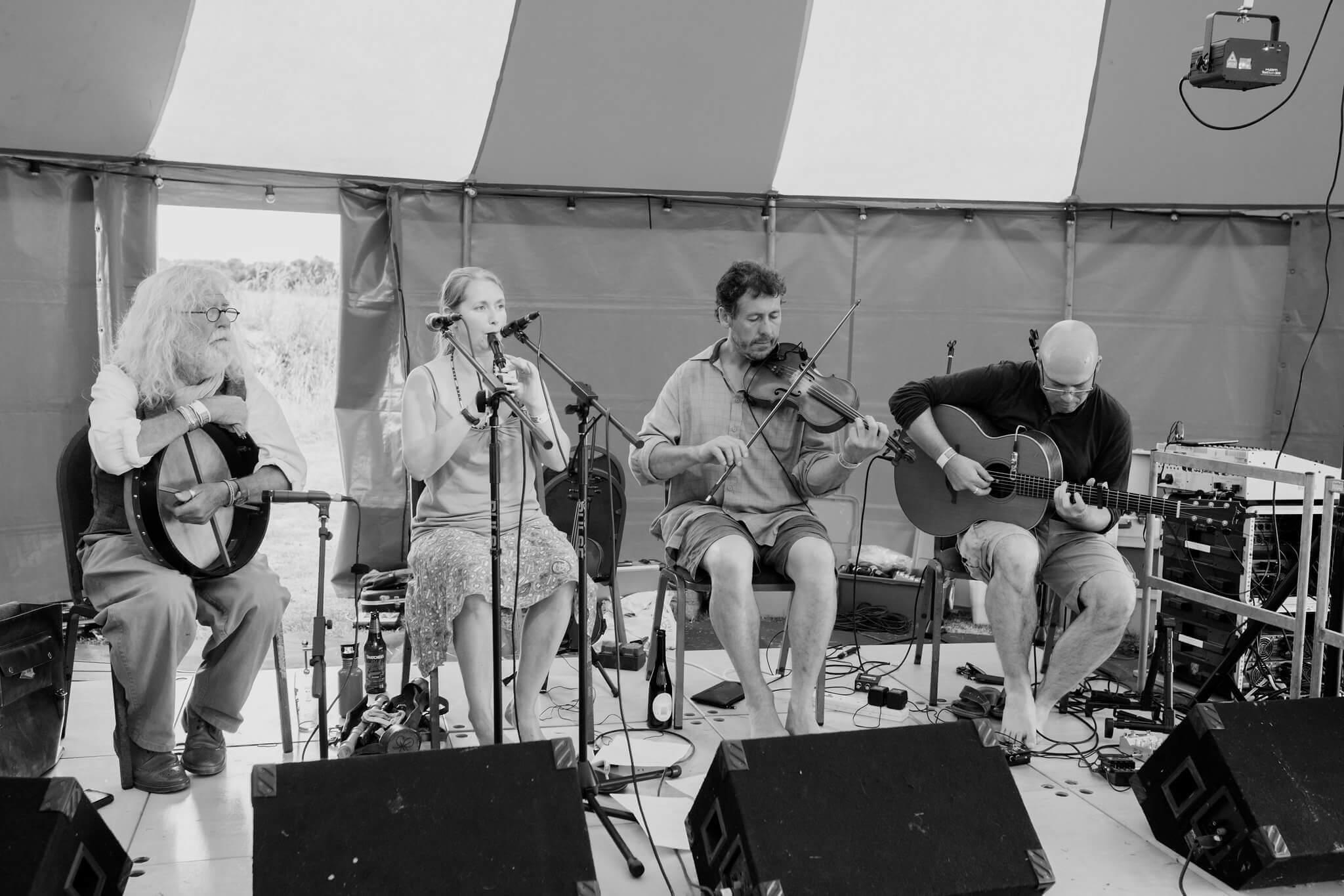 Cornish wedding band playing in alternative wedding marquee