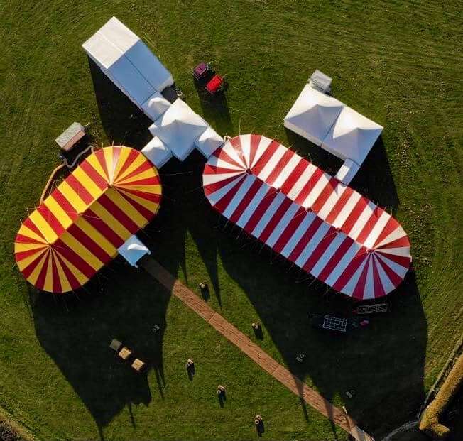 Aerial photo of marquee installation collaboration with DP Marquees and Bigtopmania