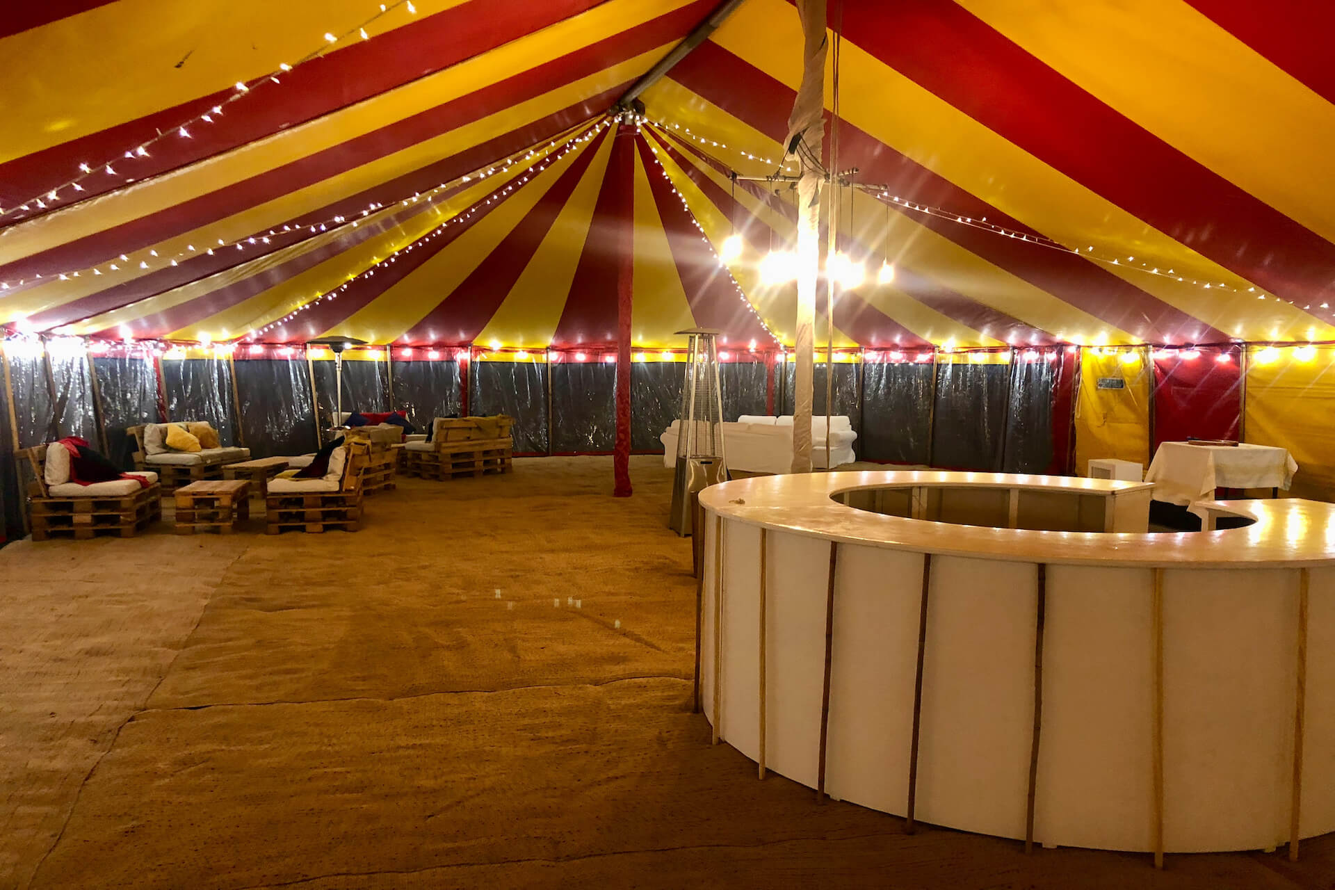 Party tent in Dorset during installation