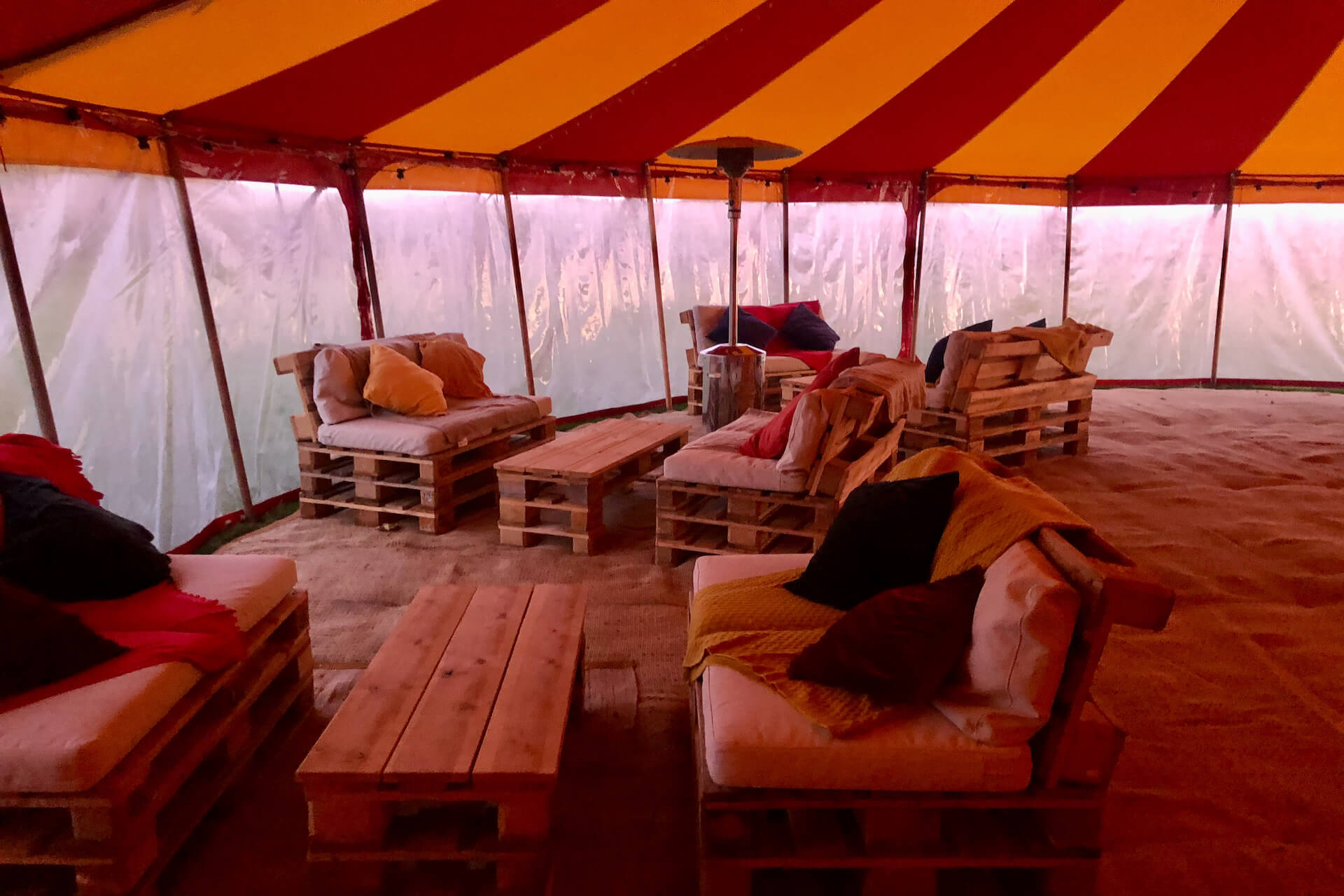 DIY pallet furniture for wedding party tent in Dorset