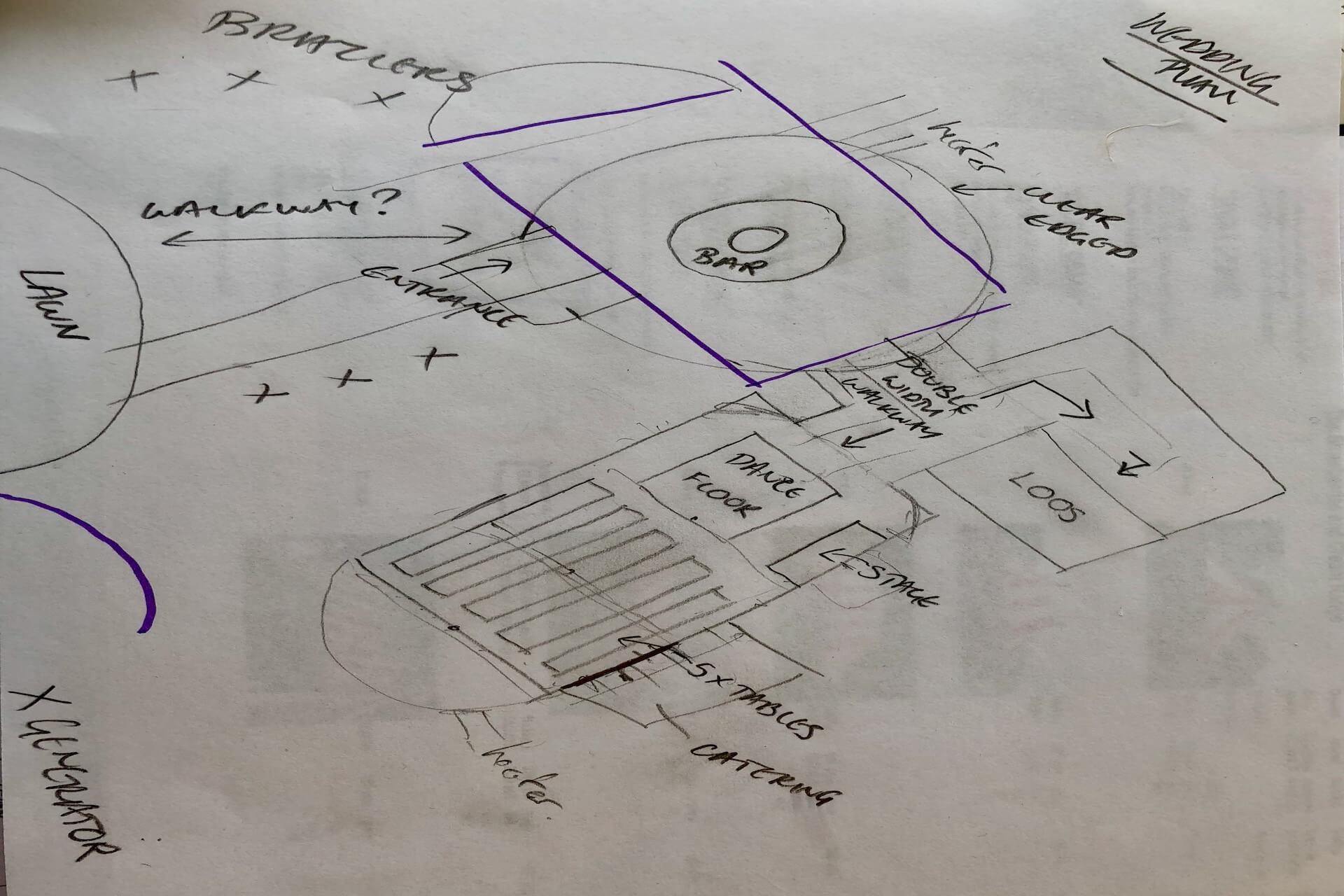 A wedding plan sketch idea on back of envelope.
