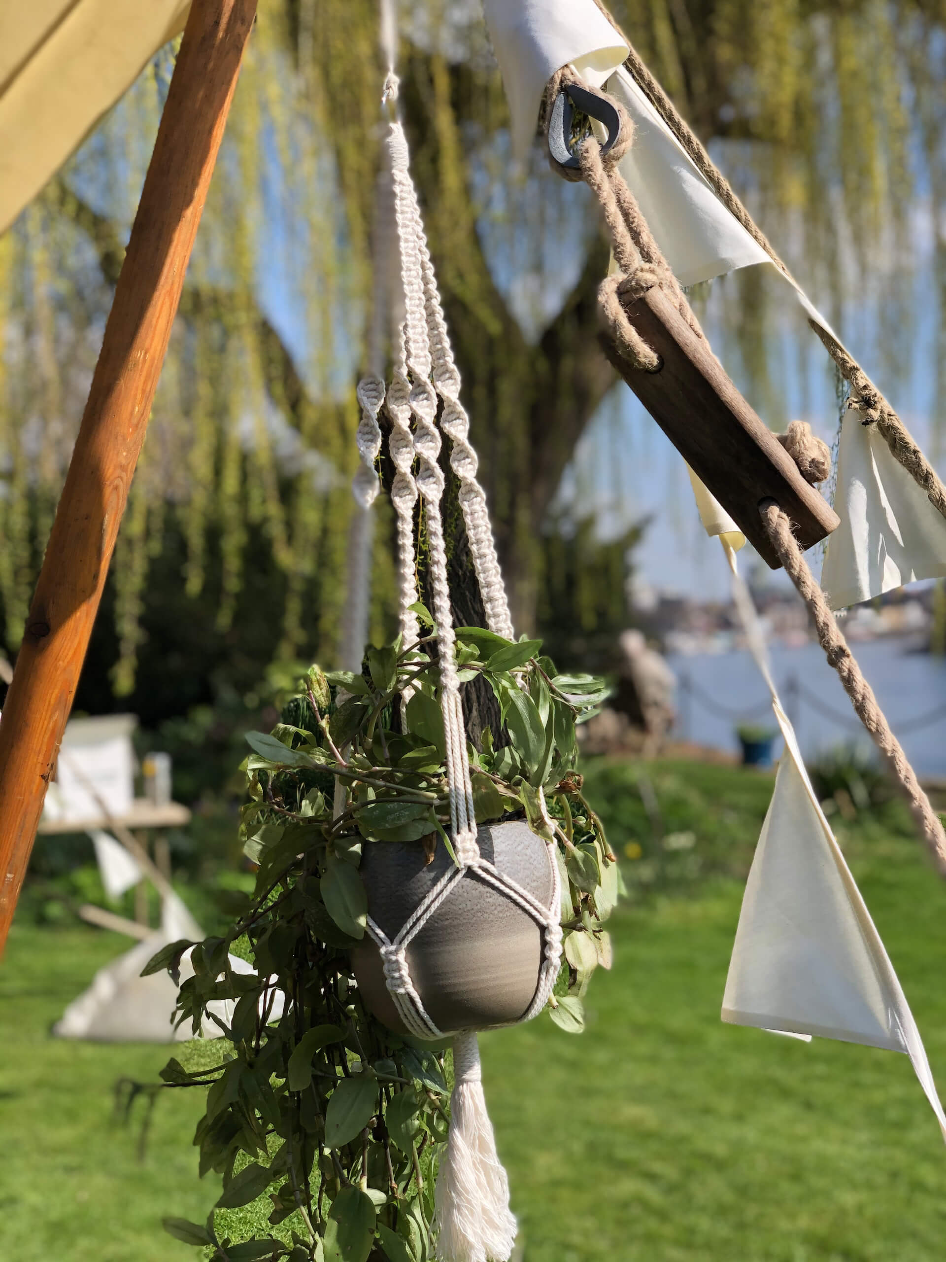 macrame plant hangers make lovely styling accesories on these canvas tents