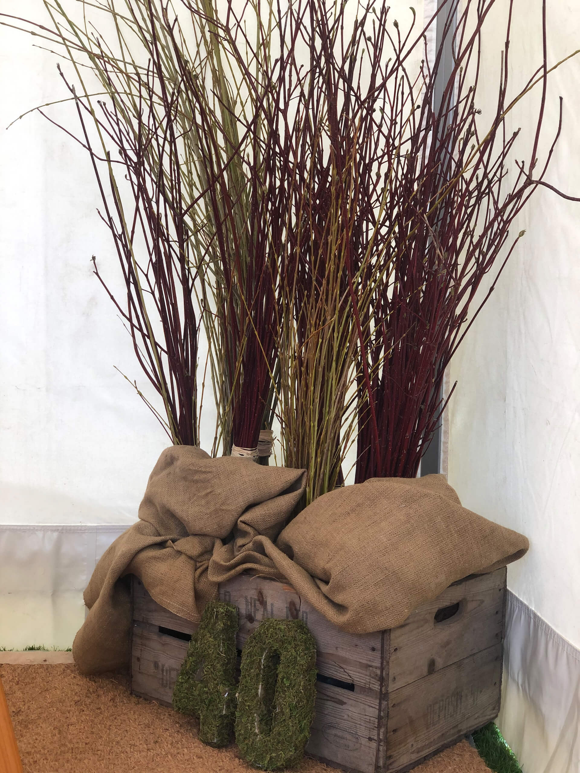 pretty canvas marquees deserve pretty styling touches such as these willow and dogwood bundles.